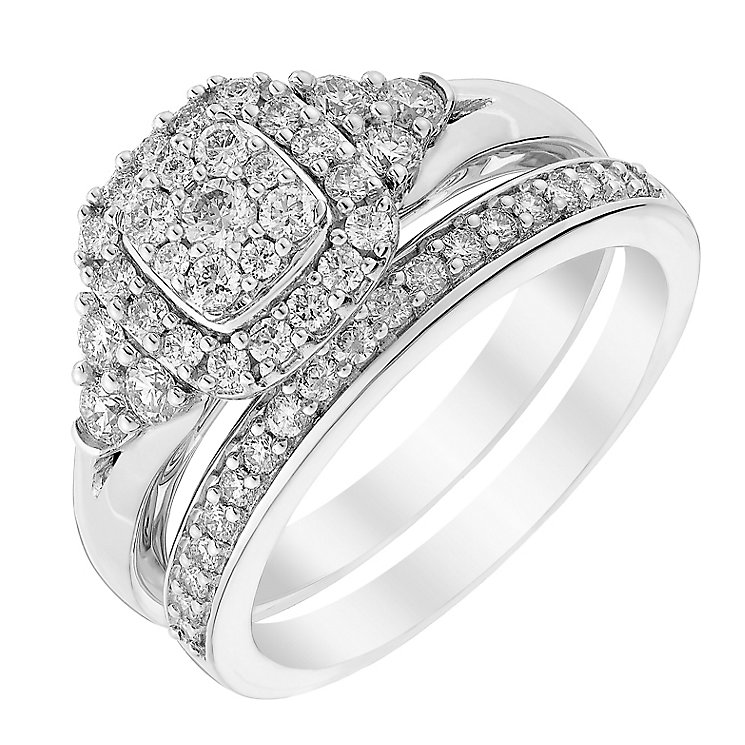 Perfect Fit 18ct White Gold Diamond Cluster Bridal Set - Product number 3000362