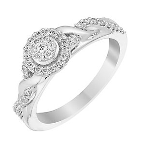 Perfect Fit 18ct White Gold 1/4 Carat Diamond Cluster Ring - Product number 3000648
