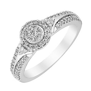 Perfect Fit 18ct White Gold Round Diamond Cluster Ring - Product number 3000990