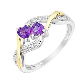 Argentium Silver & Yellow Gold Amethyst & Diamond Heart Ring - Product number 3001148
