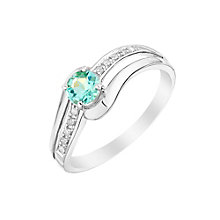 9ct White Gold Apatite & Diamond Split Shoulders Ring - Product number 3001288