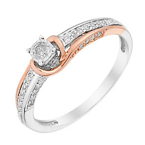 9ct White & Rose Gold Diamond Illusion Solitaire Ring - Product number 3001628