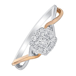 9ct White & Rose Gold 1/5 Carat Square Halo Diamond Ring - Product number 3002144