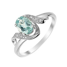 9ct White Gold Apatite & Diamond Twist Ring - Product number 3002322