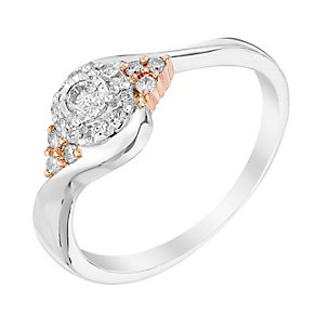 9ct White & Rose Gold 1/5 Carat Halo Diamond Ring - Product number 3002632