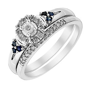 Perfect Fit 9ct White Gold Diamond & Sapphire Bridal Set - Product number 3002764