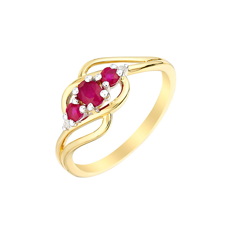 9ct Yellow Gold Three Stone Ruby & Diamond Wave Ring - Product number 3003264