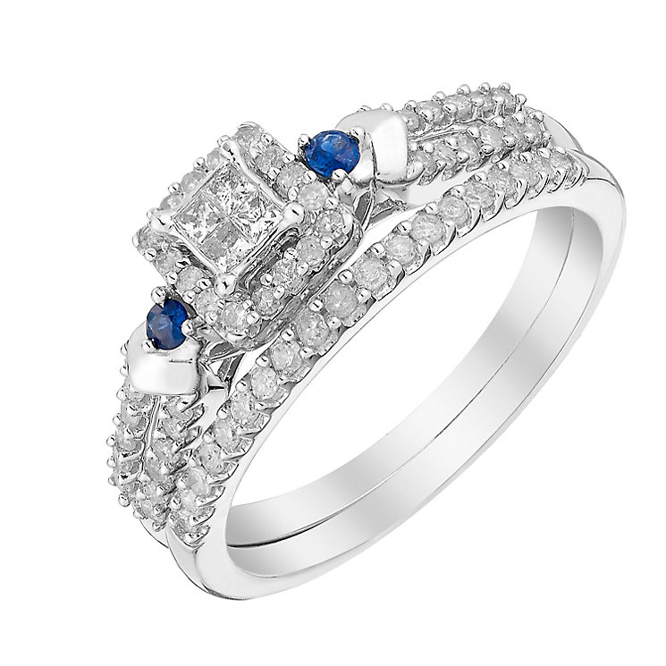 Perfect Fit 9ct White Gold Diamond & Sapphire Bridal Set - Product number 3003426