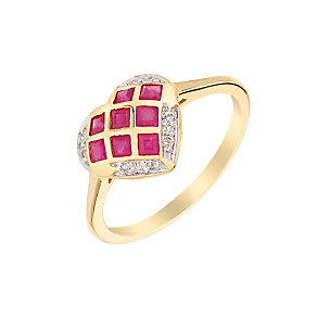 9ct Yellow Gold Diamond & Ruby Heart Shaped Ring - Product number 3004120