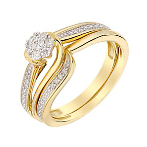 Perfect 9ct Yellow Gold Round Diamond Cluster Bridal Set - Product number 3004260