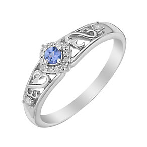 Open Hearts By Jane Seymour Silver Diamond & Tanzanite Ring - Product number 3004392
