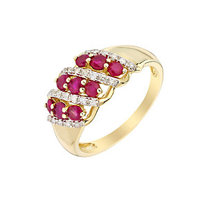 9ct Yellow Gold Ruby & Diamond Eternity Ring - Product number 3004538