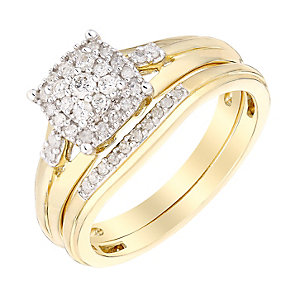 Perfect Fit 9ct Yellow Gold Diamond Cluster Bridal Set - Product number 3004651