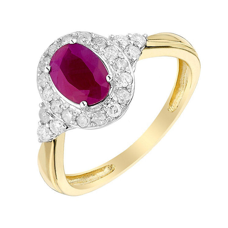 18ct Yellow Gold 1/3 Carat Diamond & Ruby Ring - Product number 3004996