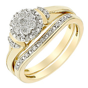 Perfect Fit 9ct Yellow Gold Diamond Cluster Bridal Set - Product number 3005135