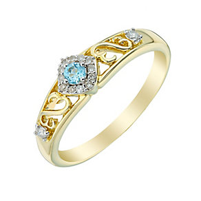 Open Hearts By Jane Seymour Gold Diamond & Blue Topaz Ring - Product number 3005267