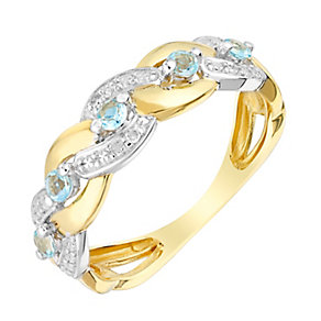 9ct Yellow Gold Woven Diamond & Aquamarine Eternity Ring - Product number 3005399