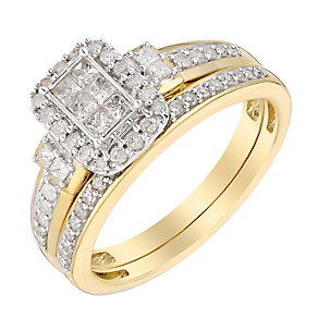 Perfect Fit 9ct Yellow Gold 1/2 Carat Diamond Bridal Set - Product number 3005534