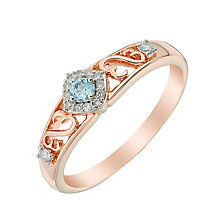Open Hearts By Jane Seymour Gold Diamond & Blue Topaz Ring - Product number 3005798