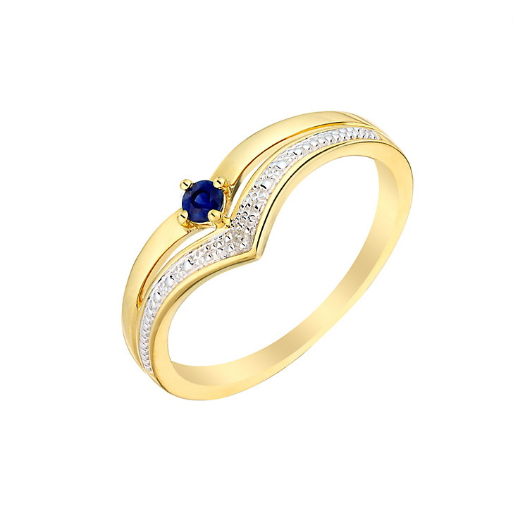9ct Yellow Gold Sapphire & Diamond Wishbone Ring - Product number 3005933
