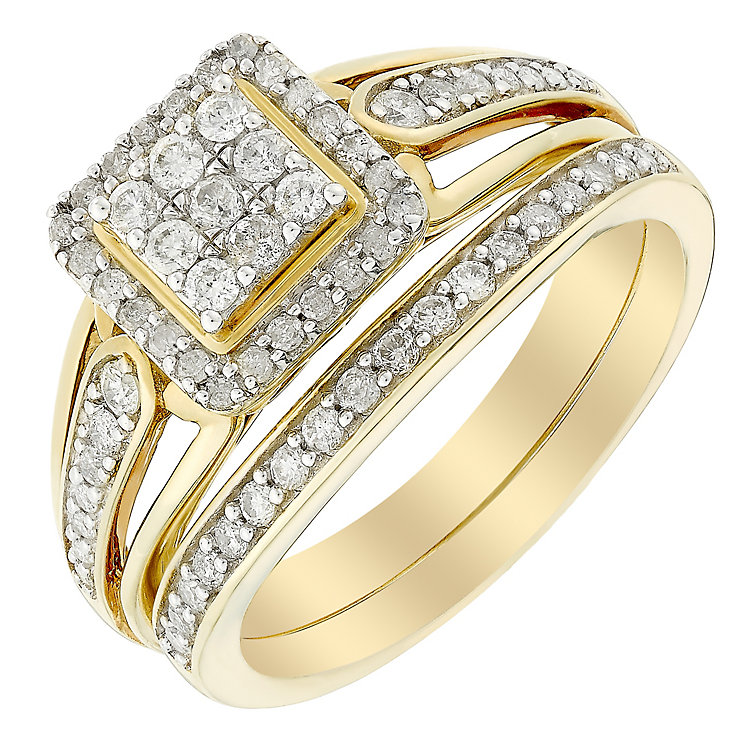 Perfect Fit Half Carat Diamond Square Cluster Bridal Set - Product number 3006077