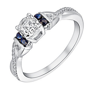 9ct White Gold 1/4 Carat Illusion Diamond & Sapphire Ring - Product number 3006204