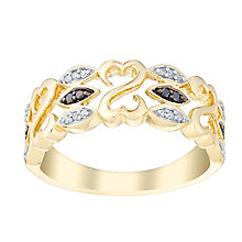 Open Hearts By Jane Seymour 9ct Yellow Gold & Diamond Ring - Product number 3006344