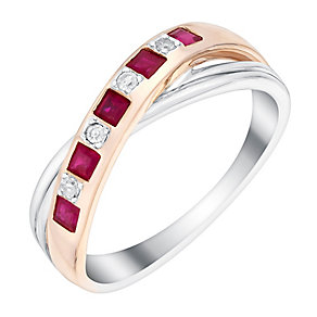 Silver & 9ct Rose Gold Diamond & Treated Ruby Eternity Ring - Product number 3006484