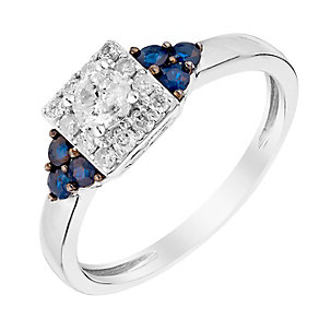 9ct White Gold 1/3 Carat Diamond & Sapphire Ring - Product number 3006751