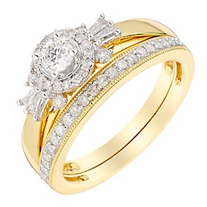 Perfect Fit 18ct Yellow Gold 1/2 Carat Diamond Bridal Set - Product number 3007162