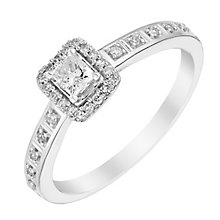 9ct White Gold 1/4 Carat Diamond Halo Ring - Product number 3007413