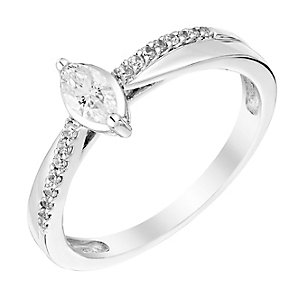 9ct White Gold 1/4 Carat Marquis Diamond Ring - Product number 3008010