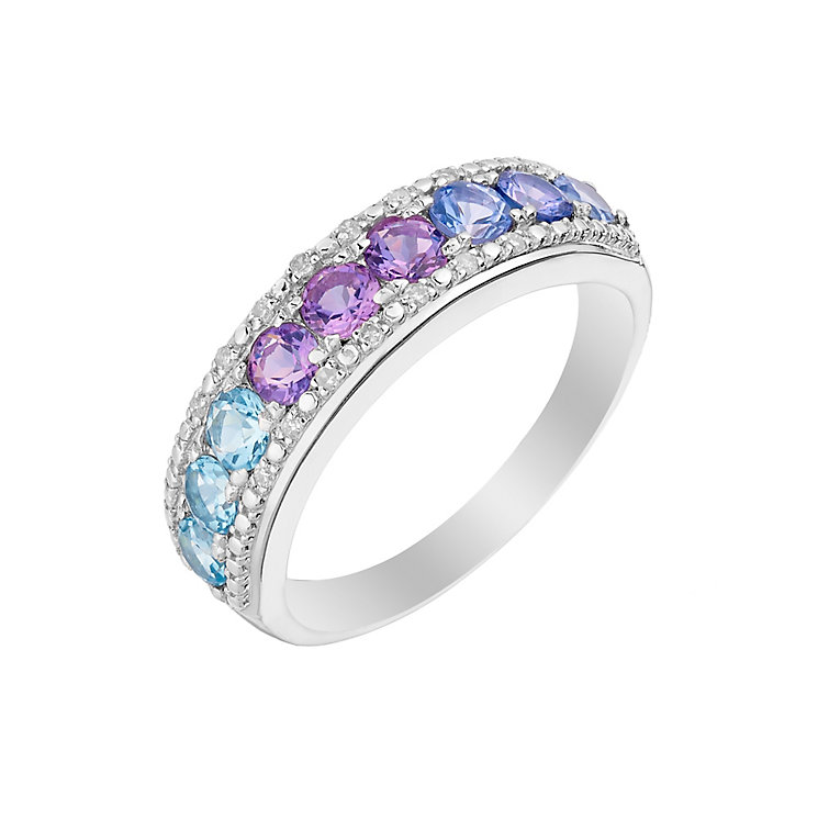 Silver Amethyst Tanzanite Blue Topaz & Diamond Eternity Ring - Product number 3008312