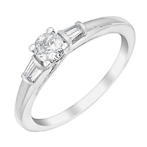 9ct White Gold 1/3 Carat Baguette & Round Diamond Ring - Product number 3008800