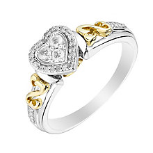 Open Hearts By Jane Seymour Silver Yellow Gold Diamond Ring - Product number 3010937