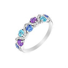 Silver Amethyst Tanzanite Blue Topaz & Diamond Eternity Ring - Product number 3011070