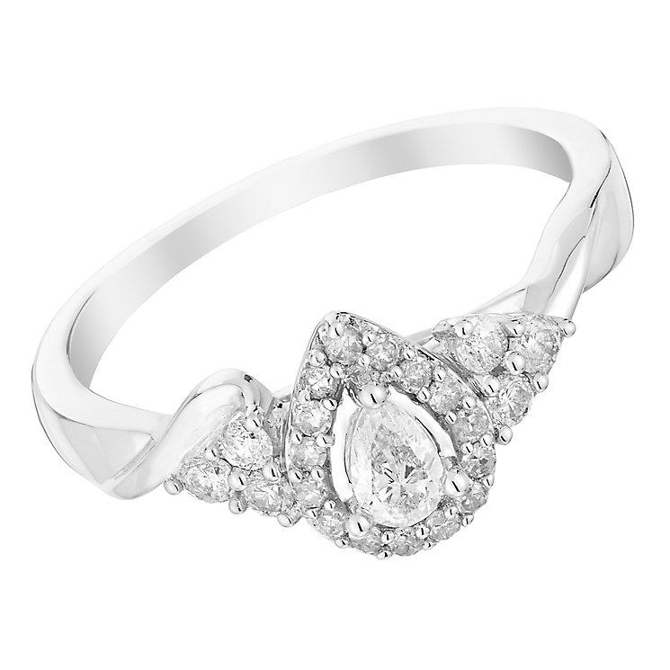 9ct White Gold 1 3 Carat Pear Shape Diamond Halo Ring H Samuel the Jeweller