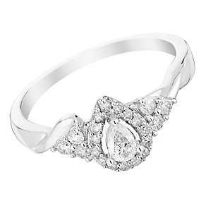 9ct White Gold 1/3 Carat Pear Shape Diamond Halo Ring - Product number 3014029