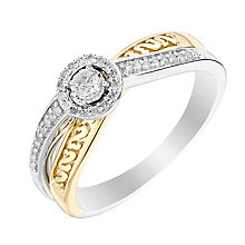 Open Hearts By Jane Seymour Silver Yellow Gold Diamond Ring - Product number 3014517