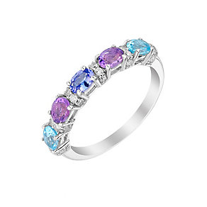 Silver Amethyst Tanzanite Blue Topaz & Diamond Eternity Ring - Product number 3015475
