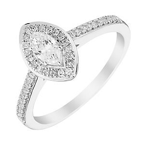 9ct White Gold Marquis Diamond Halo Solitaire Ring - Product number 3015998