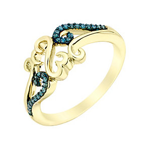 Open Hearts Waves By Jane Seymour Gold & Blue Diamond Ring - Product number 3017575