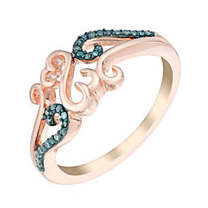 Open Hearts Waves By Jane Seymour Gold & Blue Diamond Ring - Product number 3018660