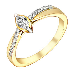 9ct Yellow Gold 1/4 Carat Marquis Diamond Ring - Product number 3019748