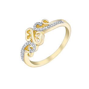 Open Hearts Waves By Jane Seymour Yellow Gold & Diamond Ring - Product number 3020002