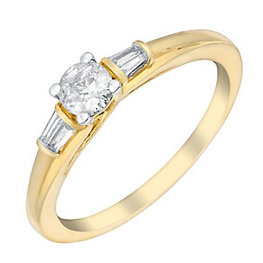 9ct Yellow Gold 1/3 Carat Baguette & Round Diamond Ring - Product number 3020193