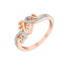 Open Hearts Waves By Jane Seymour Rose Gold & Diamond Ring - Product number 3020339