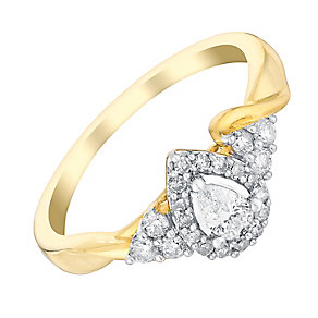 9ct Yellow Gold Pear Shape Diamond Halo Ring - Product number 3020479