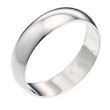 9ct White Gold 6mm Extra Heavy D Shape Ring - Product number 3020894