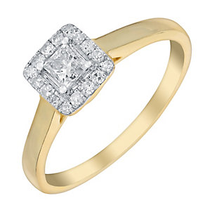 9ct Yellow Gold 1/3 Carat Princess Cut Diamond Halo Ring - Product number 3020932
